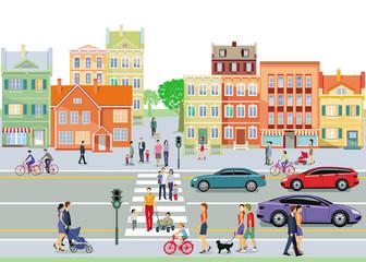 Stadt mit Familien und Fußgänger Fototapete