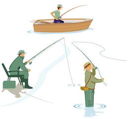 drei Angler fischen am Wasser