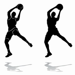 isolated silhouette of a basketball player, vector drawing