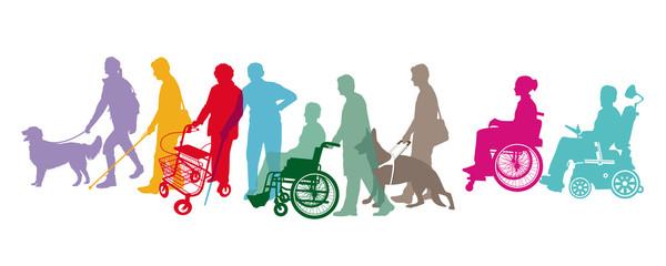 BehindertePersonen mit Gehhilfen, Isoliert