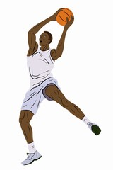 isolated illustration of a basketball player, vector drawing