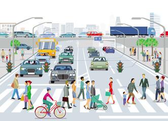 Stadt mit Straßenverkehr undFußgänger auf den Bürgersteig