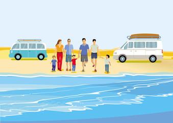 fröhliche Familien Gruppe am Meer