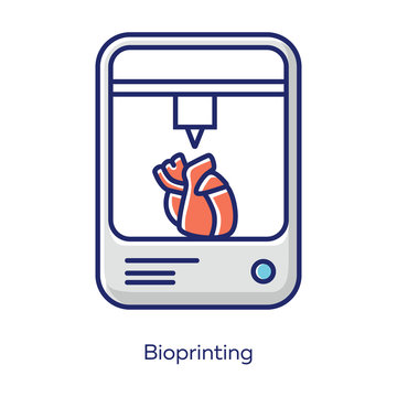 Bioprinting white color icon. Artificial heart 3d printing. Living organs producing. Biomedical parts fabricate. Medical technologies. Bioengineering. Isolated vector illustration