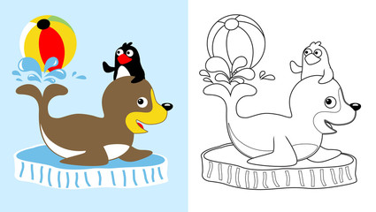 seal and penguin on circus show, vector cartoon, coloring page or book