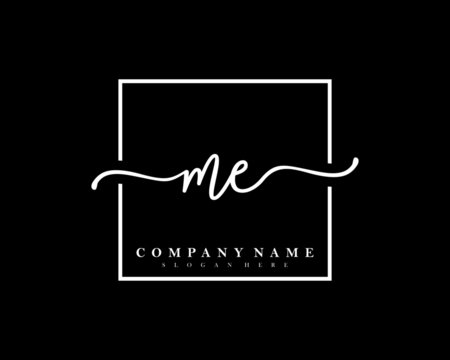 ME Initial handwriting square minimalist logo vector