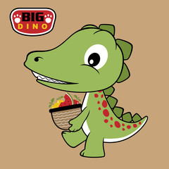 vector cartoon of dino brings fruits with basket
