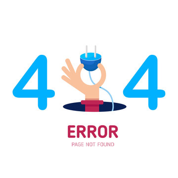 404  error page not found vector hand hold plug graphic background