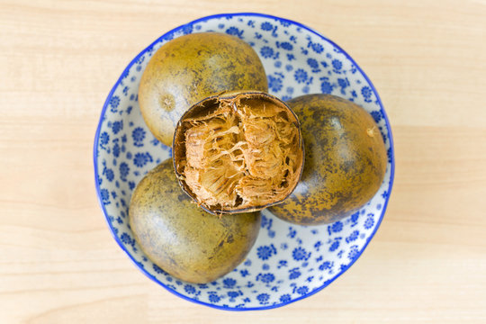 Balls of dried Monk fruit (Luo han guo) sweet fruit used to make cooling drinks in traditional Chinese medicine