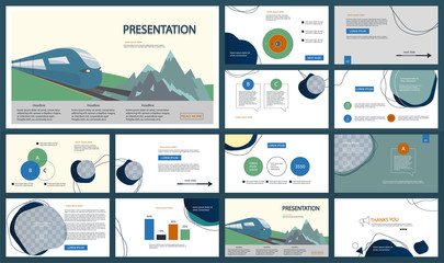 Template for travel presentations. Multicolored and Abstract elements on a different background. Presentation slide, flyer leaflet, brochure cover, report, marketing and banner