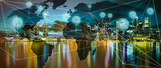 International business concept with modern city skyline background with network on map and internet of thing
