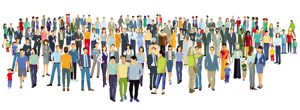 große Gruppe von Personen stehen zusammen