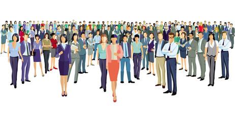 eine Gruppe von Geschäftsleuten stehen zusammen