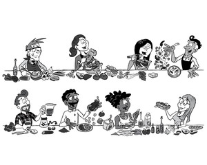 Collection of 8 characters eating vegetarian food in black and white