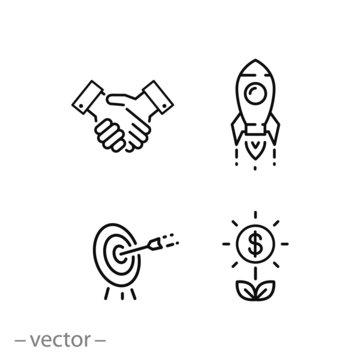 startup innovation icon set, financial investor, entrepreneur, marketing target, thin line web symbols on white background - editable stroke vector illustration eps10