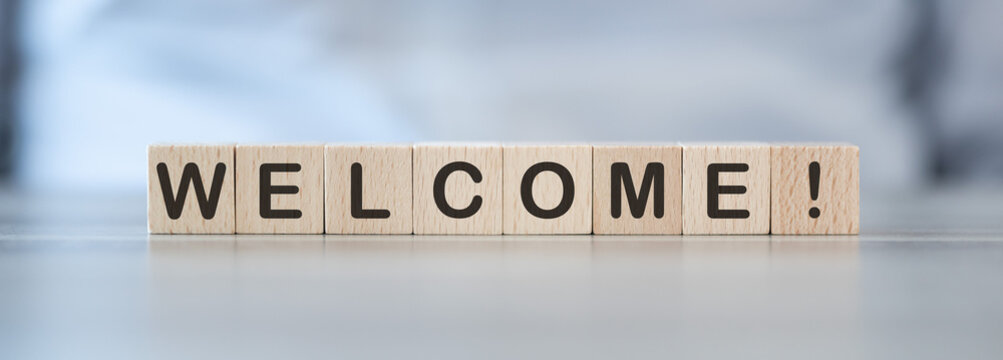 Word welcome on cubes