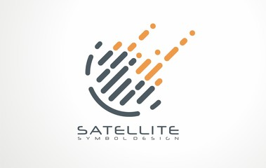 Digital data logo vector design concept. Satellite signal icon or sign. Symbol for hi tech technology.