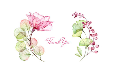 Watercolor Transparent Rose floral thank you card. Eucalyptus branch, flowers and berries isolated on white. Botanical illustration for stationery design Wall mural