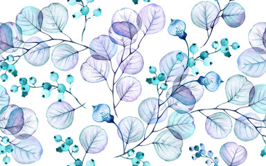 Transparent leaves watercolor seamless pattern. Hand drawn floral illustration with turquoise berries for wedding design, surface, textile, wallpaper