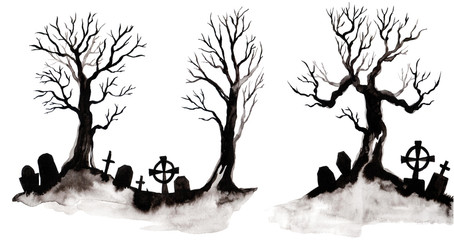 Watercolor silhouette of a tree and grave. Wonderful postcard on halloween Fototapete