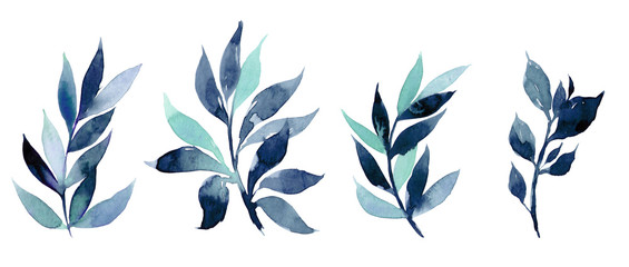 Hand drawn watercolor illustration of abstract blue branch. Elements for design of invitations, movie posters, fabrics and other objects Wall mural
