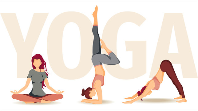 Vector illustration with Women performing yoga poses. The concept of wellness, flexibility and endurance, Yoga Day, healthy lifestyle, sport. Poster, banner, card, cover design.