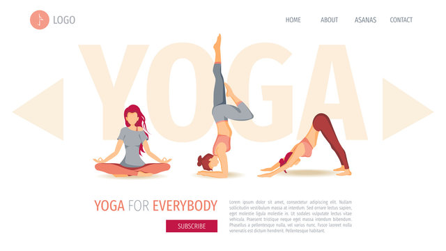 Web page design template with Women performing yoga poses. The concept of wellness, Yoga classes, healthy lifestyle, sport. Perfect for poster, banner, cover, website development.