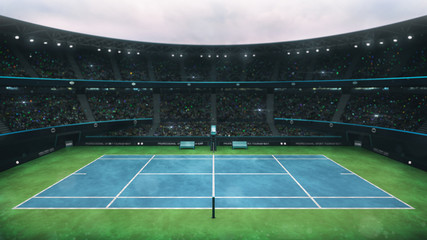 blue and green tennis court stadium with fans at daytime, upper side view, professional tennis sport 3D illustration background