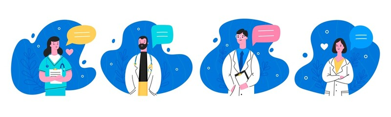 Hospital medical staff with speech bubbles. Male, female medicine workers. Doctor, surgeon, physician, paramedic, nurse. Hand drawn colored vector illustration. Cartoon style characters. Flat design  Wall mural