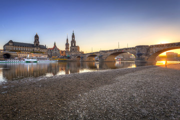 Beautiful sunset in Dresden at Elbe River, Saxony. Germany