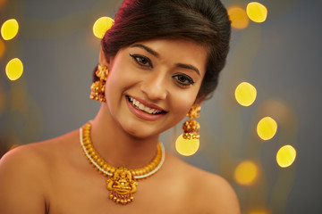 Beautiful Indian young women portrait with jewelry