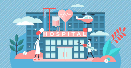 Hospital vector illustration. Flat tiny medical ambulance persons concept.