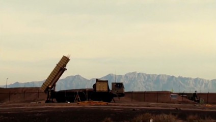 A still image from video footage shows Bavar-373 mobile missile system in Iran