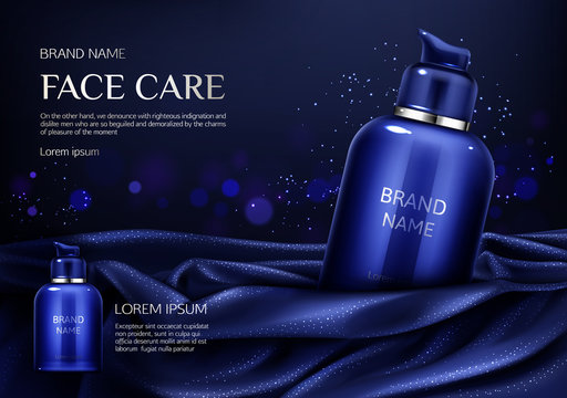Cosmetics bottle mockup banner, face care spa beauty product on dark blue silky draped fabric background with glittering, men cosmetic pump tube package ad design. Realistic 3d vector illustration,