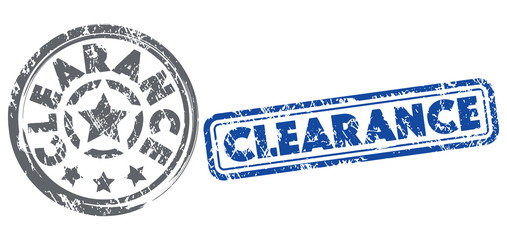 Clearance stamps in dark grey and dark blue colors. Grunge texture. Vector illustration.