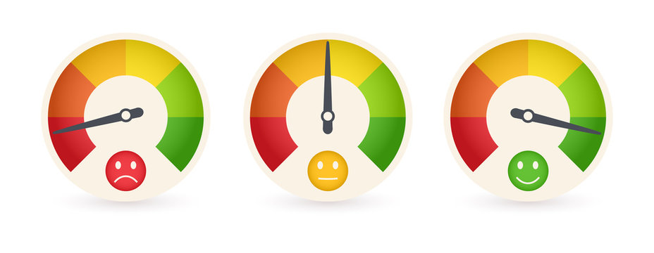 Business meter or business indicator template with emotional cartoon face. Abstract Rating icons. Quality control vector illustration.