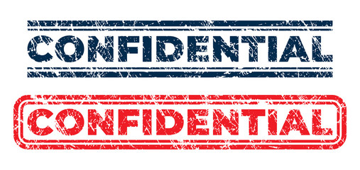 Confidential stamps in dark blue and red colors. Grunge texture. Vector illustration.