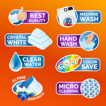 All washing clothes stickers set - micro cleaning, clear water, best quality, crystal white, alpine freshness, color, machine and hand wash Clean laundry, fibers, water drop, thumbs up icons, vector.