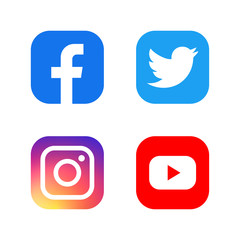 Set of facebook twitter instagram and youtube icons. Social media icons. Realistic set. Vector