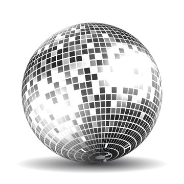 Silver disco ball on a white background