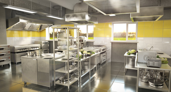 Industrial kitchen. Restaurant kitchen. 3d illustration