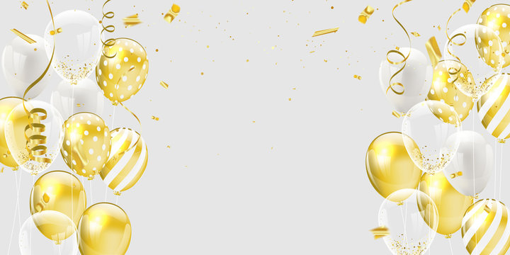 Gold white balloons, confetti concept design template holiday Happy Day, background Celebration Vector illustration.