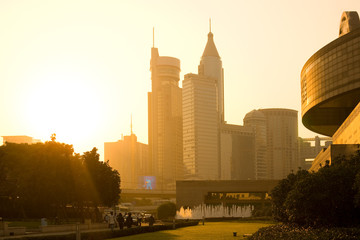 Shanghai, huangpu district, China - Skyline of office buildings from Renmin Park (People's Square).
