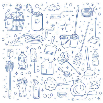 Vector cleaning doodle elements set isolated on white background. Hand drawn bucket, sponge, detergent, hose, plunger and steam cleaner illustration