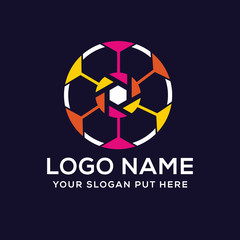 Colorful creative sports photographic logo vector design template