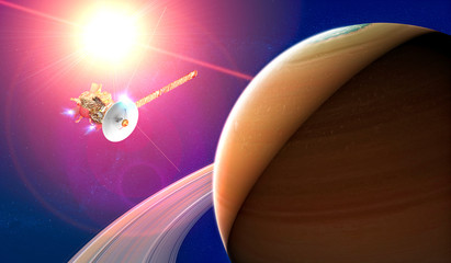 View of the planet Saturn with rings. Cassini probe in exploration around the planet. Solar system. 3d render. Element of this image is furnished by Nasa