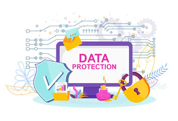 Data Protection Software. A computer under lock and security shield Wall mural