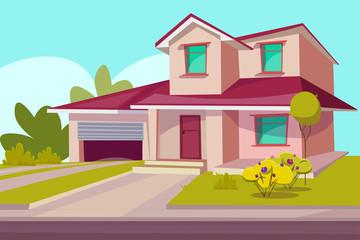 Residential house flat vector illustration