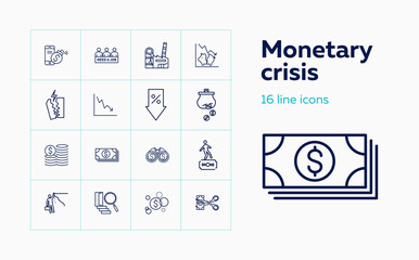 Monetary crisis icons. Set of line icons. Unemployment, bankruptcy, decline. Financial problems concept. Vector illustration can be used for topics like business, finance, banking