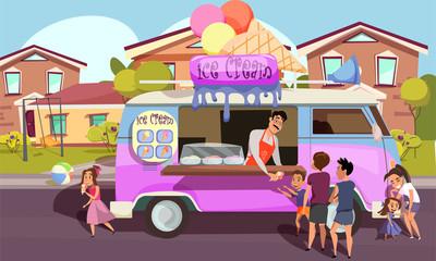 Ice cream van, food truck flat vector illustration